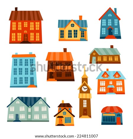 Town icon set of cute colorful houses. - stock vector