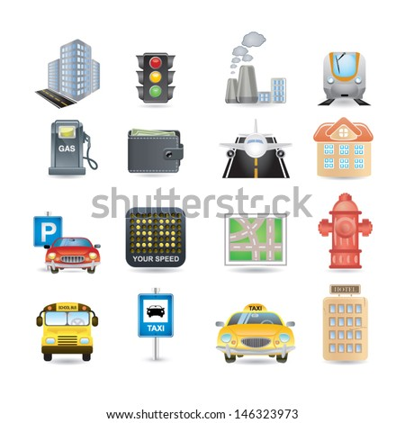 town icons - stock vector