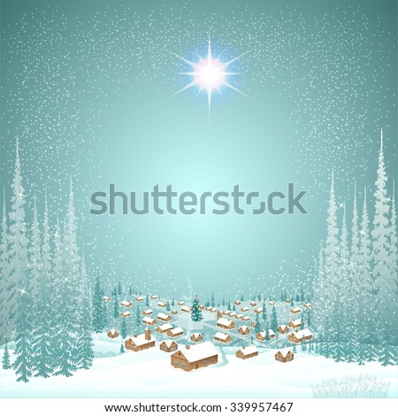 town in the winter day woods christmas background - stock vector