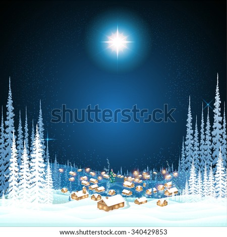 town in the winter night woods christmas background - stock vector