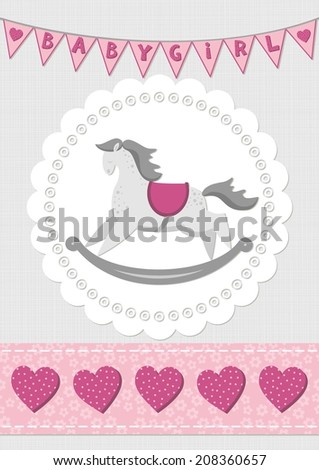 toy animal rocking horse on white doily with flag banner and seamless ribbon pink baby girl room decorative illustration - stock vector