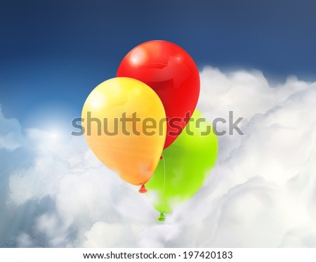 Toy balloons in the clouds, vector illustration - stock vector