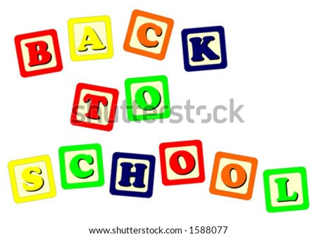 Toy cubes Back To School - stock vector