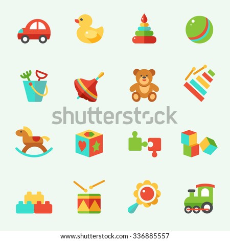 Toy icons, flat design - stock vector