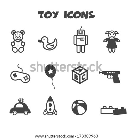 toy icons, mono vector symbols - stock vector