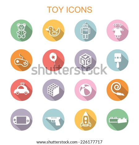 toy long shadow icons, flat vector symbols - stock vector