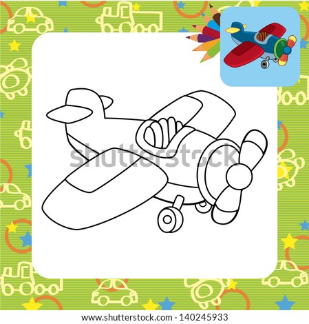 Toy plane. Coloring page. - stock vector