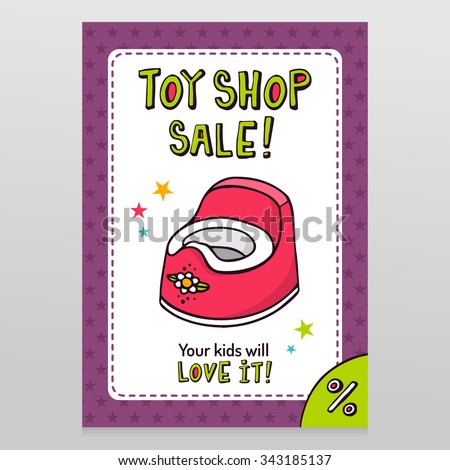 Toy shop bright vector sale flyer design with pink baby potty isolated on white with purple starry pattern background - stock vector