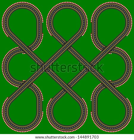 Toy slot cars track - stock vector
