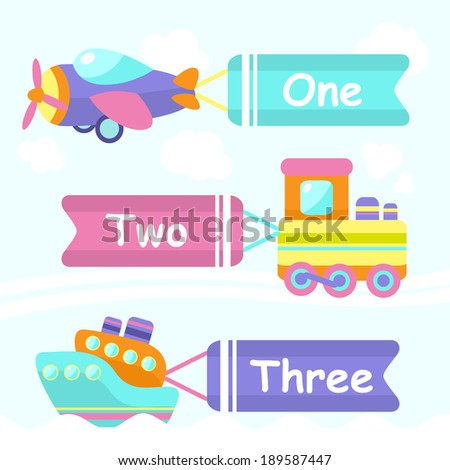 Toy transport cartoon decorative banners set with train boat plane isolated vector illustration - stock vector