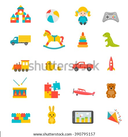 Toys collection isolated on white background. Toys  icons set. Toys  icons art. Toys  icons web. Toys  icons new. Toys  icons www. Toys  icons app. Toys  set big. Toys  set art. Toys  set web.  - stock vector