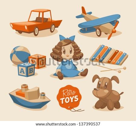 Toys emblems - stock vector
