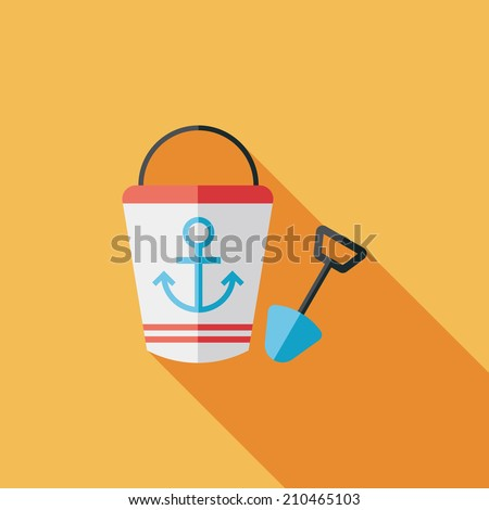 Toys for sand flat icon with long shadow,eps10 - stock vector
