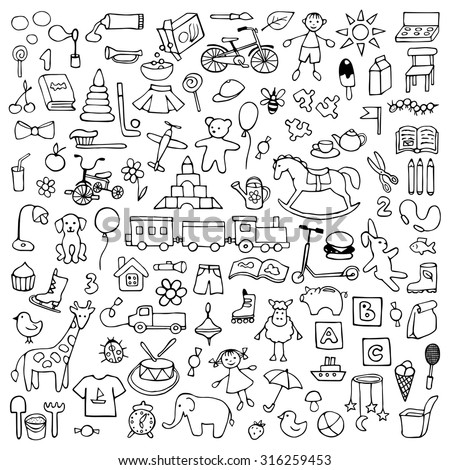 Toys hand drawn doodle set. Vector  illustration for backgrounds, web design, design elements, textile prints, covers, greeting cards - stock vector