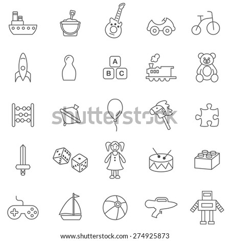 Toys line icons set.Vector. - stock vector