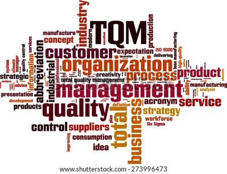 TQM word cloud concept. Vector illustration - stock vector