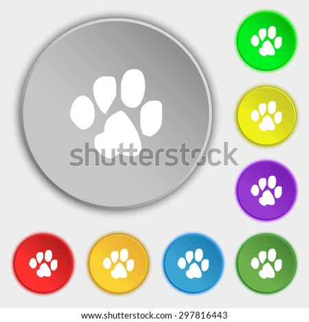 trace dogs icon sign. Symbol on five flat buttons. Vector illustration - stock vector