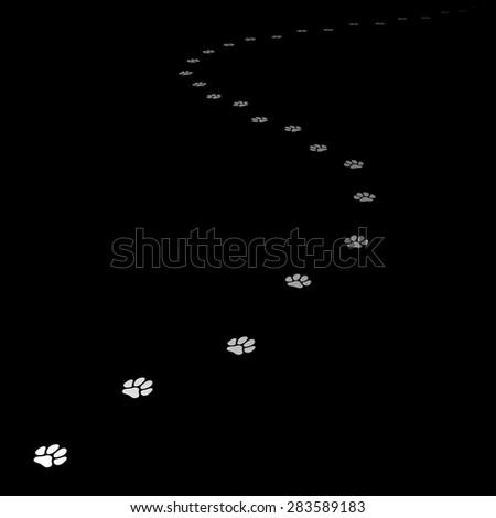 Trace of dog leading far away. Editable Vector EPS8. - stock vector