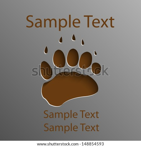 Trace on the bear's paw - stock vector