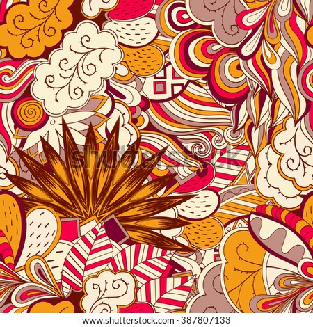 Tracery seamless calming pattern. Mehendi design. Neat even colorful harmonious doodle texture. Algae sea motif. Indifferent discreet. Ambitious bracing usable, curved doodling mehndi. Vector. - stock vector