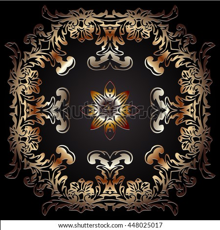tracery traditional vintage embossed decorative elements of decoration on a dark background - stock vector