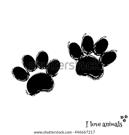 Traces of an animal. Dog imprint. Pet paw - stock vector