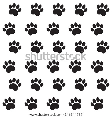 Traces of Cat Textile Pattern. Vector seamless. - stock vector