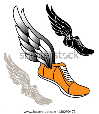 Track athletic sports running shoe logo with wings - stock vector