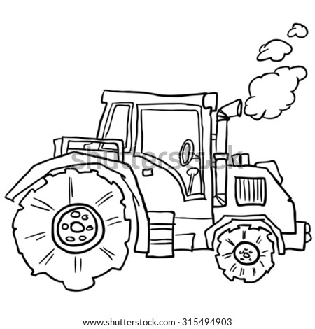 tractor doodle cartoon illustration - stock vector