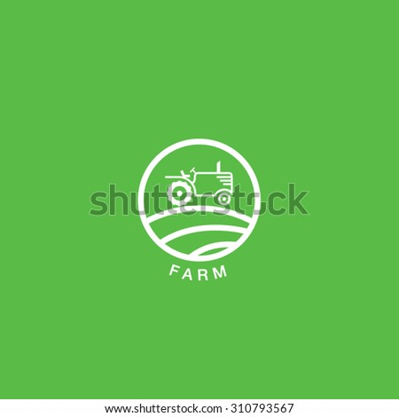 Tractor Farmer Field Logo - stock vector