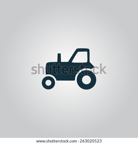 Tractor. Flat web icon, sign or button isolated on grey background. Collection modern trend concept design style vector illustration symbol - stock vector