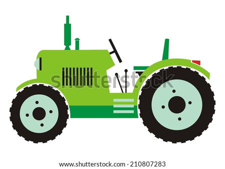 Tractor - green color - stock vector