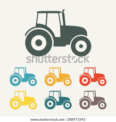 Tractor icon or sign isolated on white background. Transportation flat icon. Colorful vector illustration. - stock vector