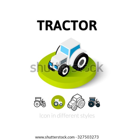 Tractor icon, vector symbol in flat, outline and isometric style - stock vector