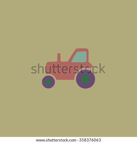 tractor Retro dim color vector flat icon - stock vector
