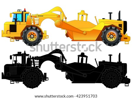 Tractor-scraper. Heavy equipment vehicle, vector illustration. Isolated on white. Icon. Flat style. Silhouette - stock vector