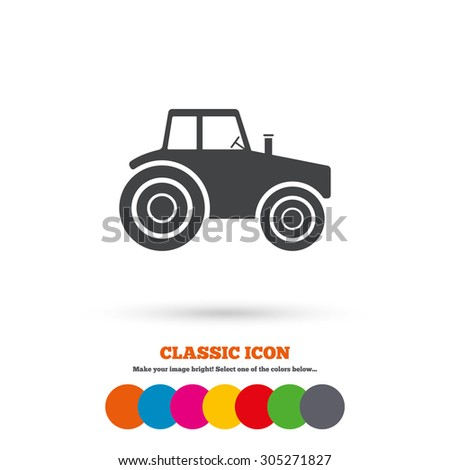 Tractor sign icon. Agricultural industry symbol. Classic flat icon. Colored circles. Vector - stock vector