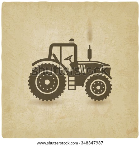 tractor silhouette old background. vector illustration - eps 10 - stock vector