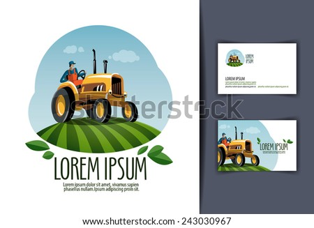 tractor vector logo design template. harvest or farm icon. - stock vector