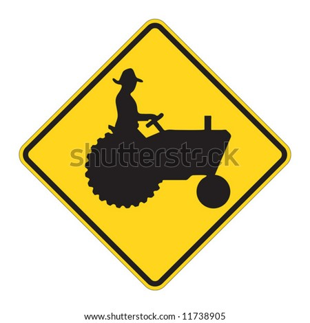 Tractor warning sign on white - stock vector