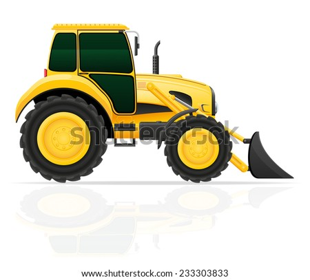 tractor with bucket front seats vector illustration isolated on white background - stock vector