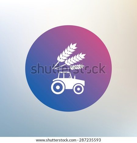 Tractor with Wheat corn sign icon. Agricultural industry symbol. Icon on blurred background. Vector - stock vector