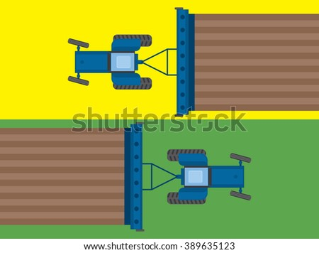 Tractors works at farm field. View from above. Agriculture landscape background. Plowing and cultivation plants. Agriculture business. Cover template design. Vector illustration - stock vector
