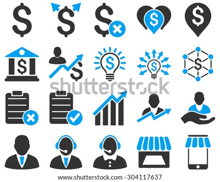Trade business and bank service icon set. These flat bicolor icons use blue and gray colors. Images are isolated on a white background. Angles are rounded. - stock vector