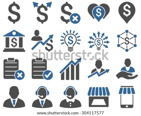 Trade business and bank service icon set. These flat bicolor icons use cobalt and gray colors. Images are isolated on a white background. Angles are rounded. - stock vector