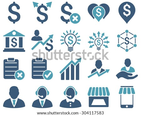 Trade business and bank service icon set. These flat bicolor icons use cyan and blue colors. Images are isolated on a white background. Angles are rounded. - stock vector