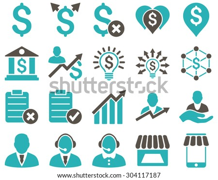Trade business and bank service icon set. These flat bicolor icons use grey and cyan colors. Images are isolated on a white background. Angles are rounded. - stock vector