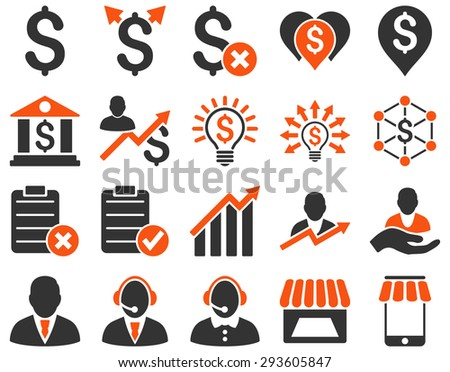 Trade business and bank service icon set. These flat bicolor icons use %icon_colors%. Images are isolated on a white background. Angles are rounded. - stock vector