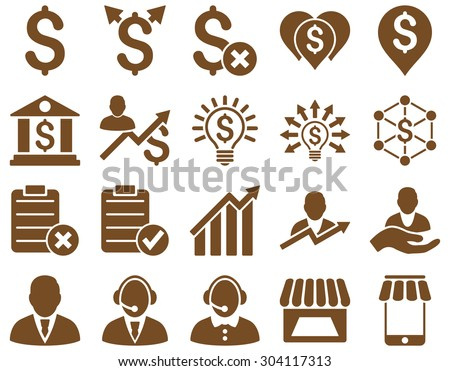 Trade business and bank service icon set. These flat icons use brown color. Images are isolated on a white background. Angles are rounded. - stock vector