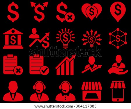 Trade business and bank service icon set. These flat icons use red color. Images are isolated on a black background. Angles are rounded. - stock vector